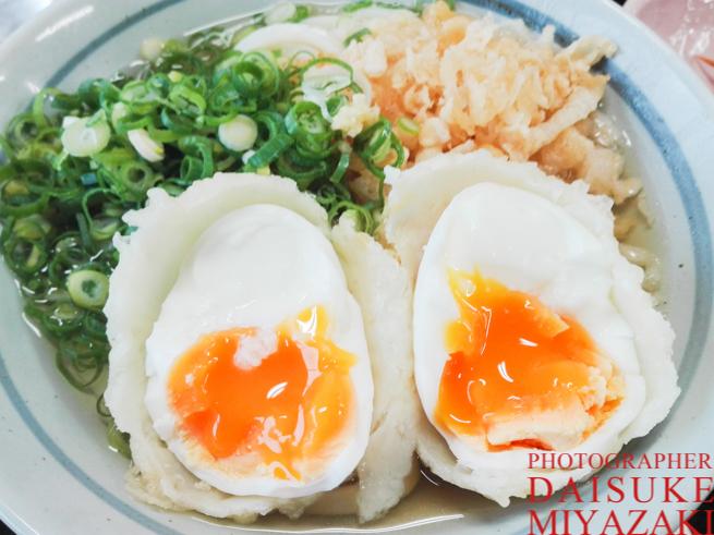 半熟卵の天ぷらうどん