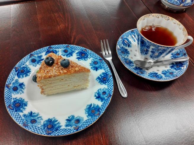 ロシアのケーキと紅茶
