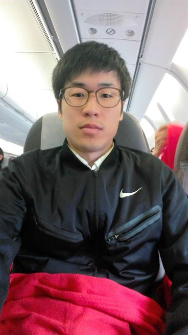 イベリア航空の機内で自撮り