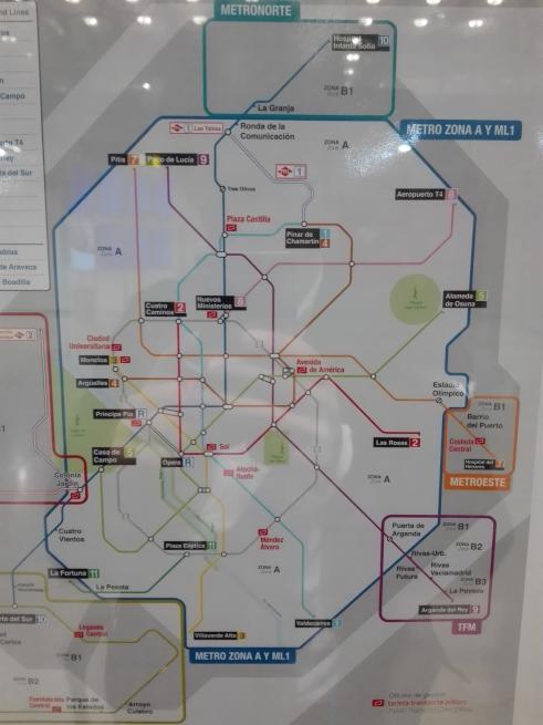 マドリードの地下鉄路線図