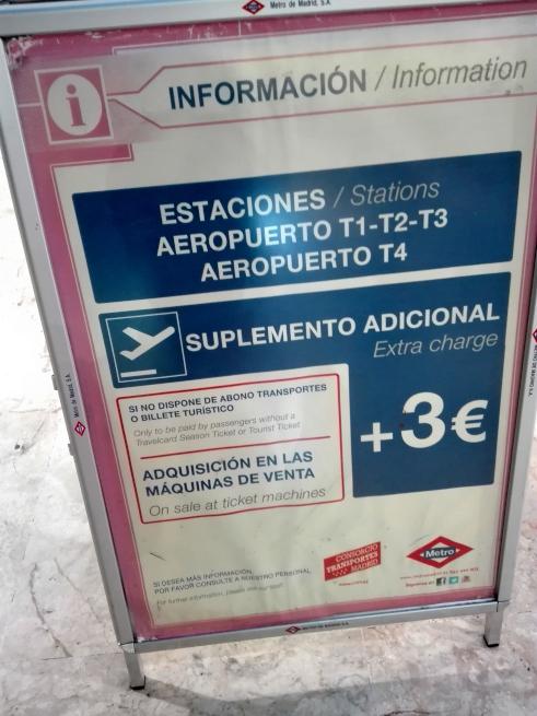 マドリード空港は地下鉄に別途費用が掛かる