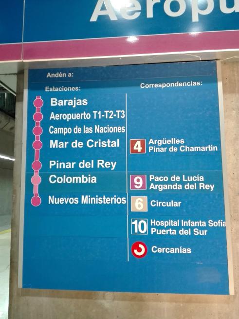 マドリードの地下鉄の乗り換え案内