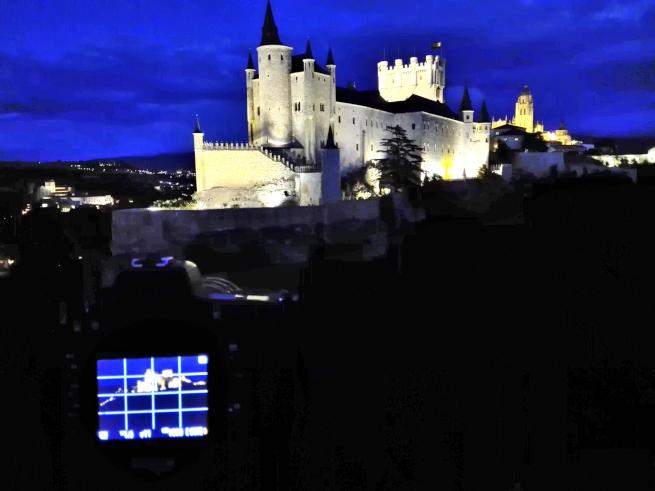 セゴビアの夜景撮影の様子
