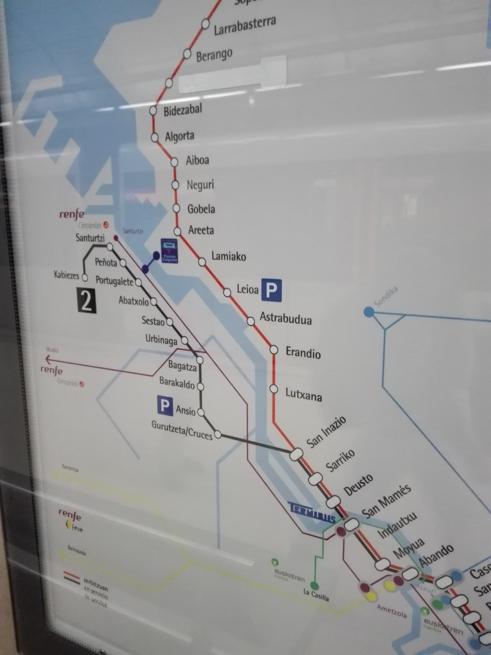 ビルバオの地下鉄路線図