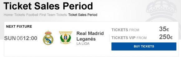 レアルマドリードの公式サイトのチケット購入画面